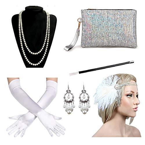 1920s Great Gatsby Headband Flapper Headpiece Costume Accessories Set for Women ()