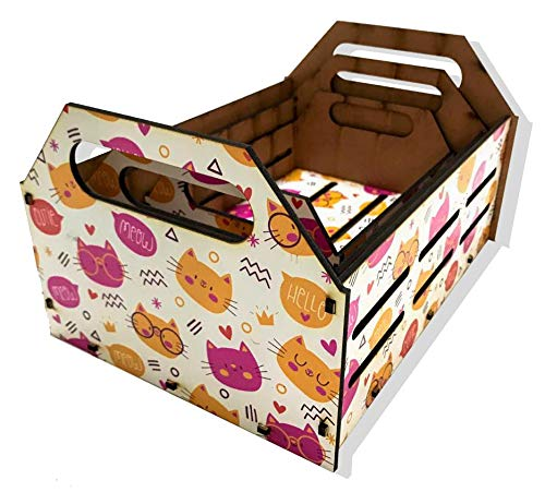 Kit Caixa Decorativa - Gatos Coloridos