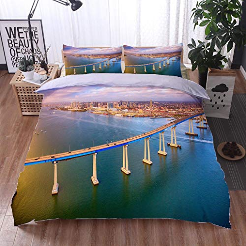 - HOOMORE Bed Comforter - 3-Piece Duvet -All Season, San Diego Skyline Beyond The Coronado Bridge,HypoallergenicDuvet-MachineWashable -Twin-Full-Queen-King-Home-Hotel -School