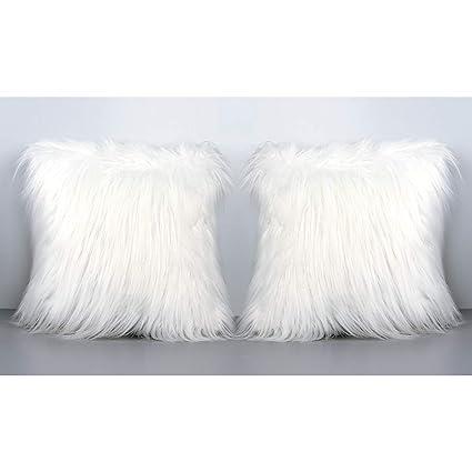 Faux Fur Decorative Pillow.Ourwarm Luxury White Faux Fur Throw Pillow Case Cushion Cover For Sofa Bedroom Car Super Soft Plush Christmas Pillow Covers Home Decorative 18 X 18