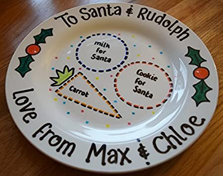 Handpainted Personalised Childrens Christmas Eve Mince Pie Plate Cookie Carrot Santa and Rudolph Gift & Handpainted Personalised Childrens Christmas Eve Mince Pie Plate ...