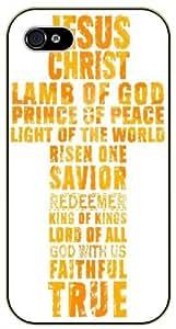 Jesus Christ cross - Lamd of God, prince of peace, light of the world - Golden - Bible verse iPhone 5 / 5s black plastic case / Christian verses