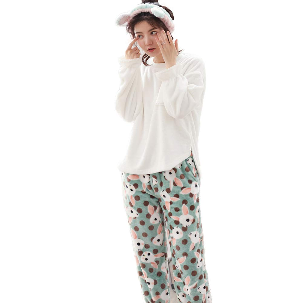 F6300a MINGXINTECH Womens Flannel Pajama Set with Pants Cashmere Soft Plush Homewear