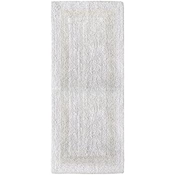 Cotton Craft Reversible Step Out Bath Mat Rug Set 24x60 White, 100% Pure  Cotton