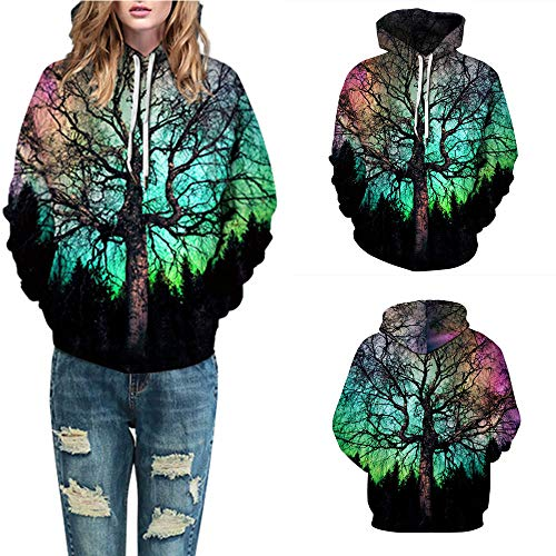 Wobuoke Women Men Fashion 3D Printing Autumn Winter Long Sleeve Caps Sweatshirt Pullover Top -