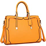Womens Handbag Faux Leather Medium Zipper Accents Handle Satchel Shoulder Bag (Orange)