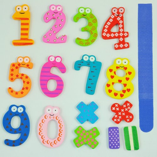 TOOGOO(R) Funny Colorful Magnetic Numbers Wooden Fridge Magnets Kids Educational toys - Free Cable Tie