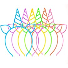 18 Pack Unicorn Headbands Party Favors Supplies Cat Ear Headbands Girls Plastic Horn Hairbands for Cosplay Party Birthday Party Halloween Christmas(18 Pack)