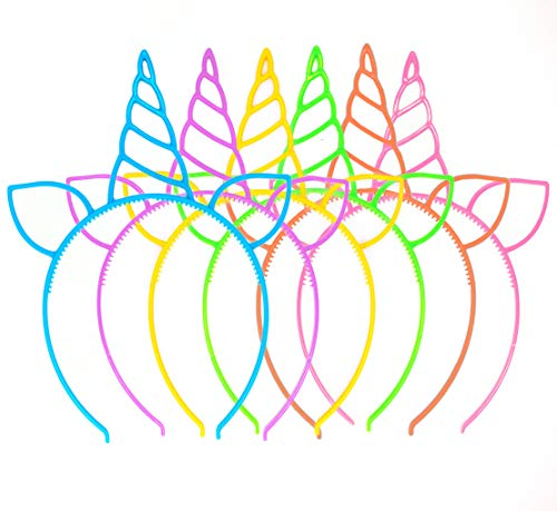 (18 Pack Unicorn Headbands Party Favors Supplies Cat Ear Headbands Girls Plastic Horn Hairbands for Cosplay Party Birthday Party Halloween Christmas(18 Pack))