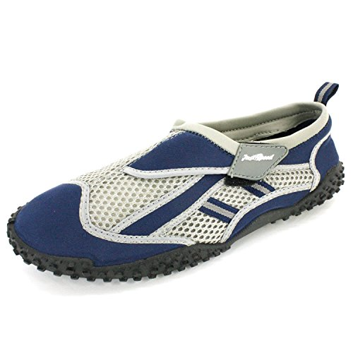 Just Speed Men's Aqua Shoes Aqua Socks- Breathable Material, Maximum Slip Resistances and Feet Protection To Provide Improve Performance-Navy/Gray 14