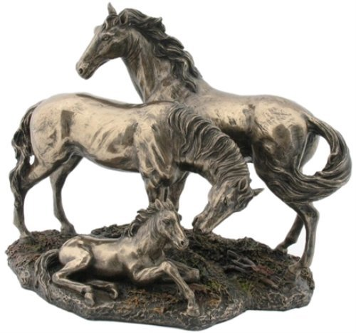 Horse Cast (8.5 Inch Baby, Mother, and Father Horse Family Cold Cast Bronze)