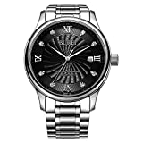 BUREI Men's Black Automatic Watch with Date Diamonds Roman Numbers and Stainless Steel Bracelet