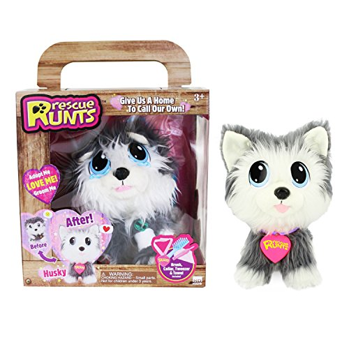 KD Kids Rescue Runts Husky Plush Dog, White/Gray by KD Kids