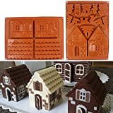 2 Pieces Non-Stick Christmas Gingerbread House Chocolate House Silicone Mold Christmas Tree Cake Silicon Mould DIY Biscuits Baking Tools for Xmas Decorations