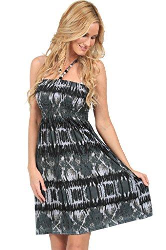 INGEAR Sexy Bead Smocked Tube Dress-Black/Gray-XL