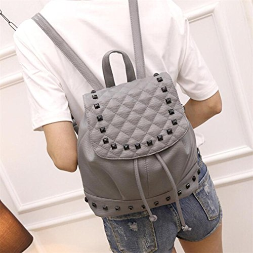 Women Elaco Bag Satchel Women Gray Leather Shoulder Travel Backpack Rucksack School A6OqwqB4Tc