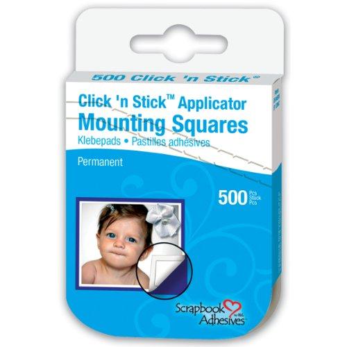 Stick Mounting Squares (Scrapbook Adhesives Click 'n Stick Mounting Squares 500/Pkg-Permanent, White, .5