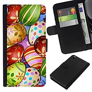 Planetar® Modelo colorido cuero carpeta tirón caso cubierta piel Holster Funda protección Para HTC DESIRE 816 ( Egg Happy Kids Drawing )