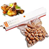 IdentikitGift Automatic Vacuum Sealer machine - Compactable Food Sealer Best for Food Preservation and Storage including Starter Kit, Plus 15 Sealer Bags for Free, IdentikitGift 2018 New Design, 110V