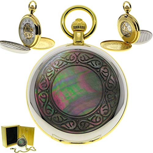 Cameo Link Watch - Double Full Hunter Mechanical Pocket Watch Skeleton Hand-Winding 17 Jewels Movement with MOP Cameo Cover P294