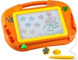 Buyus [Mini - Travel Size] Erasable Imaginarium Color Magnetic Drawing Board (Magna Doodle) for Kids/ Toddlers/ Babies with 2 Stamps and 1 Pen (Orange / Yellow / Green)