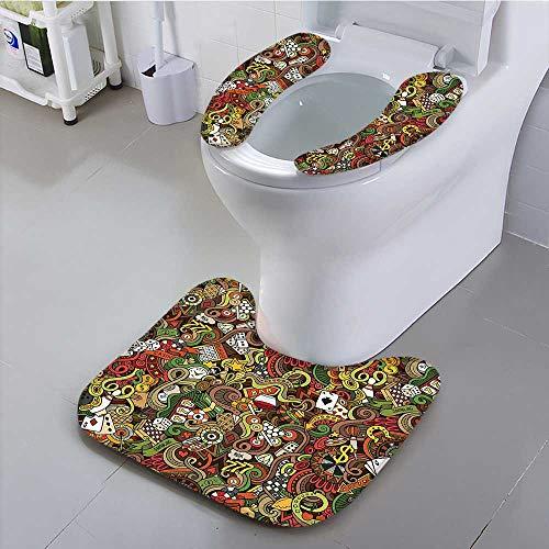 Auraisehome Toilet Cushion Suit Doodles Style Bingo Excitement Checkers King Tambourine Vegas Bathroom Non Slip Comfortable by Auraisehome