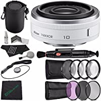 Nikon 1 NIKKOR 10mm f/2.8 Lens (White) + 52mm 3 Piece Filter Set (UV, CPL, FL) + 52mm +1 +2 +4 +10 Close-Up Macro Filter Set with Pouch + Lens Pen + Cloth + Lens Cap Keeper + SLR Lens Pouch + Flash