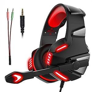 Cascos Auriculares Gaming Gamer para PS4 PC Xbox con Micrófono Micro Portátil Computadoras Mac Estéreo Juego Gaming Headset Ligero Cómodo Control de Volumen Tablet Teléfono (Adaptador Incluido)