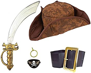 Caribbean Pirate Costume Set Hat Sword Eyepatch Belt Earring Fancy Dress Pirates