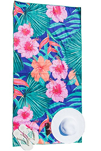 - Bondi Safari Microfiber Beach Towel - Quick Dry, Sand Free, Tropical Design for Travel, Beach, Outdoor, Swimming & Cruise - for Women, Travel Size Gift (Tropical Blue, X-Large)
