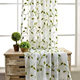 WINYY Rustic Embroidery Green Leaf Curtain Drape for Bedroom Cotton Polyester Blend Voile Curtain Sheer for Living Room Balcony Rod Pocket Top Tulle Gauze 1 Panel (114″ W x 84″ L) Review