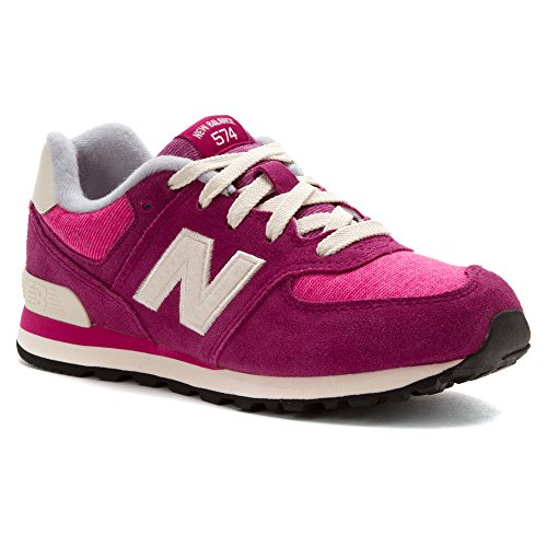 New Balance KL574 Lace-Up Pre Pennant Running Shoe (Little Kid),Pink/White,2 M US Little Kid