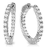Glamouresq 14k Gold Finish Cubic Zirconia CZ Round & Oval Hoop Earrings