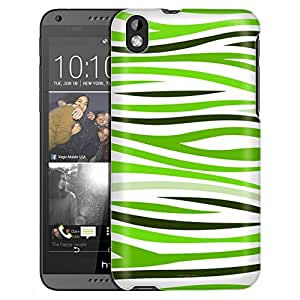 HTC Desire 816 Case, Slim Fit Snap On Cover by Trek Green White Zebra Print Case