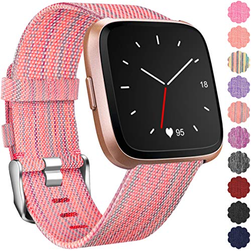 Maledan Replacement for Fitbit Versa Bands, Small, Orange Pattern
