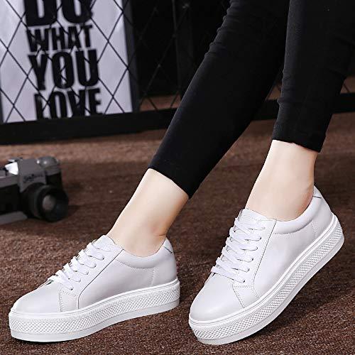 Negro White Piel Blanco Vaca Zapatos de Enredaderas de de Zapatillas Confort Mujer Deporte ZHZNVX de OI6wq