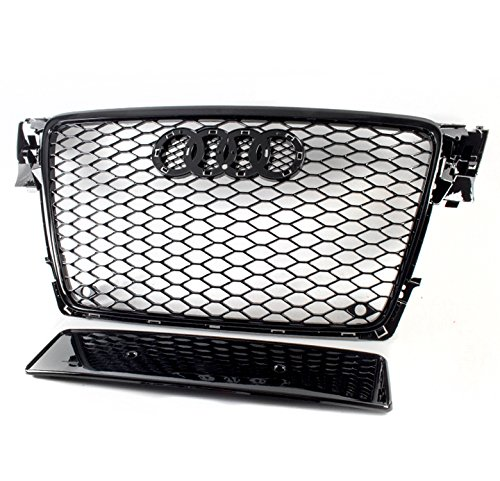 A4 Avant / S4 B8 Honeycomb Front Upper Hood ABS Grille - Glossy Black (Abs Hood)