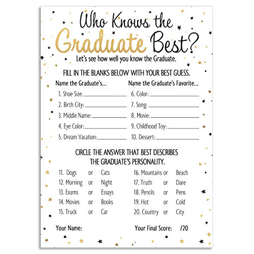 DISTINCTIVS Who Knows Grad Best - Graduation Party Game Cards (25 Count)