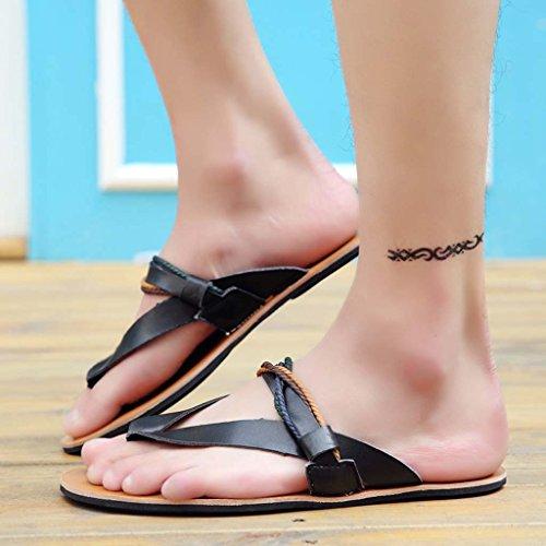 ZXCV Zapatos al aire libre Zapatos de verano de la playa de los hombres sandalias de punta abierta de la tendencia antideslizante de goma de los hombres suela Negro