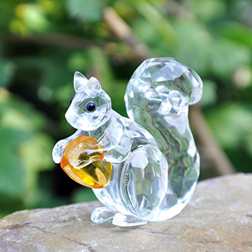 (H&D Crystal Animals Squirrel Collectible Figurine Paperweight Table Centerpiece Ornament )