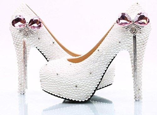 Scarpe da sposa YCMDM matrimonio da sposa perla rosa farfallino nappa SCARPE DONNA Large Size , 14 cm with high reservation , 44