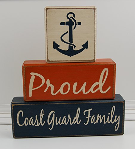Coast Guard Wood Sign (Proud Coast Guard Family - Primitive Country Wood Stacking Sign Blocks Military Decor - Navy-Coast Guard-Marine Corps)