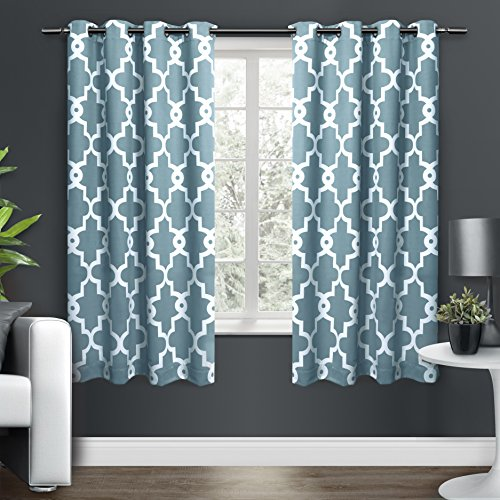 Exclusive Home Curtains Ironwork Sateen Woven Blackout Thermal Grommet Top Window Curtain Panel Pair, Teal, 52x63