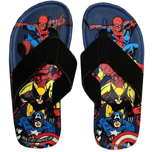 Price comparison product image Marvel Comics Group Superhero Collage Flip Flops Sandals Select Shoe Size: 10 / 11