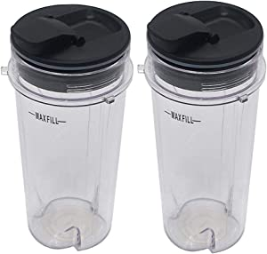 Joystar Two Pack 16-Ounce (16 oz.) Cup with Spout Seal Lid Fit for Nutri Ninja blender eries with BL660/BL663/BL663CO/BL665Q/BL771/BL773CO/BL780/BL780CO/BL810/BL820/BL830/QB3000/QB3000SSW