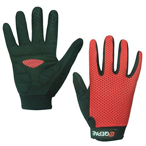 Lerway Anti-Rutsch Outdoor Hände Handschuhe Breath Weich Vollfinger MTB Handschuh Fahrradhandschuhe für Radfahren,Fahrrad Sports (Rot, M)