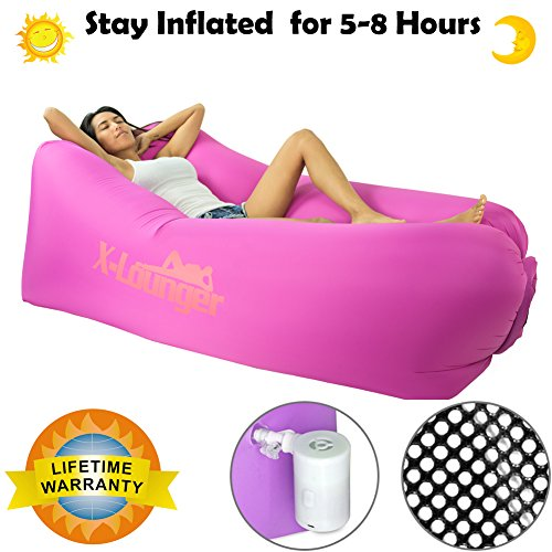 Inflatable Chair, 2017 New Lightest and Most Comfortable air chair, Easy Carry Camping Chair Outdoor Beach Chair Travel Chair with Anchor, Stake, Pocket and Bag, Floats on Water (Aqua Lounge 4)