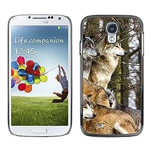 Qstar Arte & diseño plástico duro Fundas Cover Cubre Hard Case Cover para SAMSUNG Galaxy S4 IV / i9500 / i9515 / i9505G / SGH-i337 ( Wolf Pack Winter Canine Animals Nature)