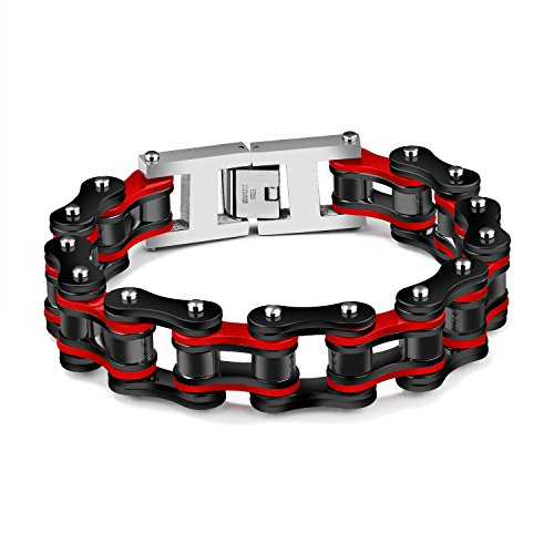 Ubeauty1999 Men's Biker 19mm Wide Stainless Steel Heavy Motorcycle Chain Bicycle Link Bracelet 8.66 Inch High Polish (Black & Red)