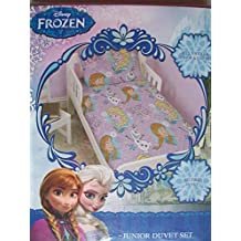 Disney Frozen Crystal Junior Rotary Duvet Set Elsa Anna and Olaf Fits Toddler Junior & Cot Bed Duvet Cover and Pillow Case by Character World